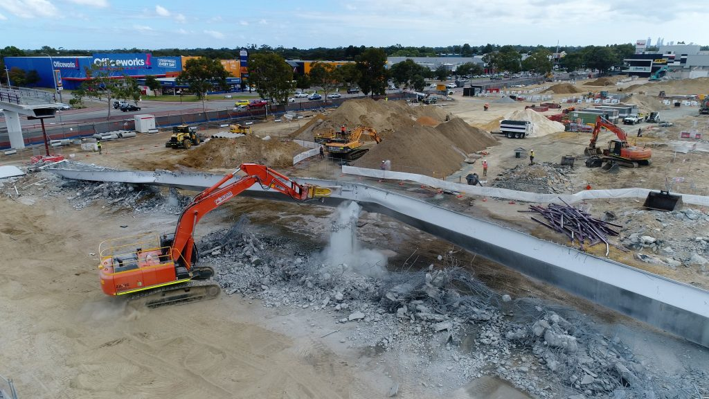 Demolition of the foot bridge at Carousel Shopping Centre.